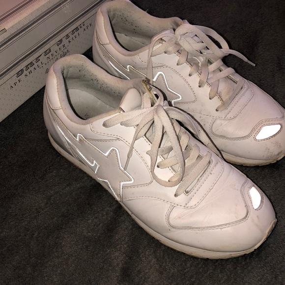 Bape Shoes | All White Bapesta 5 Foot
